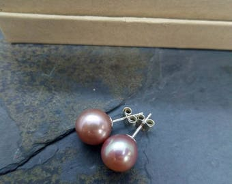 Edison pearl stud earrings pink or lavender lake kasumi classic pearls studs earrings gold filled sterling silver