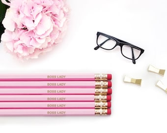 BOSS LADY pencils, Pink Gold Pencil Set, Engraved pencils, Teacher Gift, Personalized Pencils, back to school, Embossed Office Supplies