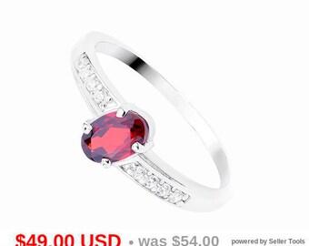 Garnet Engagement Ring Garnet Promise Ring for Her Oval Cut Engagement Ring Small Engagement Ring Delicate Engagement Ring CZ Stacking Ring