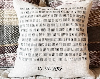 customized song lyric pillow- personalized wedding gift- anniversary gift- baby shower gift