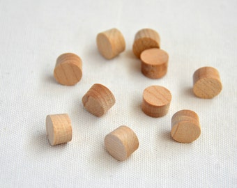 Wood dots - 10 round wood dots 13mm diameter