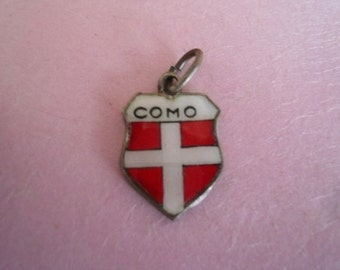 Vintage Travel Shield Sterling Silver Charm Enamel Charm Collectible Charm Como by VintageReinvented