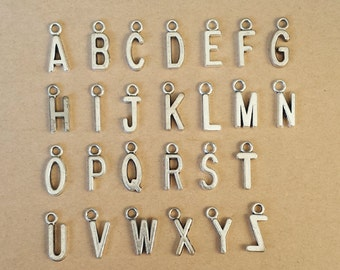 26PCS 16x6mm Antique Silver Initial charms , Antique Silver Initial Pendant ABZ011b