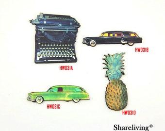 Vintage typewriter, Vintage Car, Pineapple Wood Charms, Laser Cut Wooden Jewelry