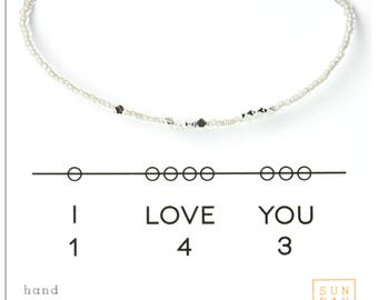 I Love You Message Bracelet,  Friendship Bracelet - Pearl Bridal Party Gifts, Gifts for Grad, best friend gift