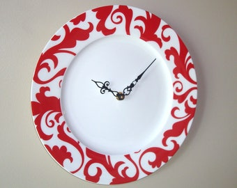 11.5 Inch Red and White Wall Clock, Leafy Scroll Pattern Wall Clock, Porcelain Plate Clock, Kitchen Clock, Unique Wall Clock - 2401