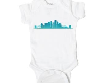 Portland Skyline Baby Onesie