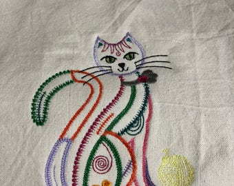 NEW kitchen Tea Towel embroidered with CAT