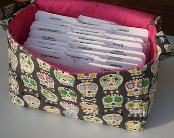 Super Size Coupon Organizer / Budget Organizer Holder Box - Attaches to Your Shopping Cart - Sugar Skull Bonehead on Gray - Choose your Size