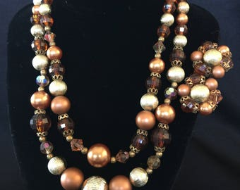 1940's Beaded Resin Double Strand Necklace & Ciip Earrings