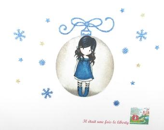 Applique Christmas ball shape in your Gorjuss girl fabric Santoro flex glitter patch iron girl gift Christmas coat pattern