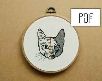 PDF pattern - PDF pattern -  Half Cat Skull Hand Embroidery Pattern (PDF pattern -  modern embroidery pattern)
