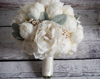 Ivory Peony Wedding Bouquet - Peony Wedding Bouquet with Lamb's Ear and Berries