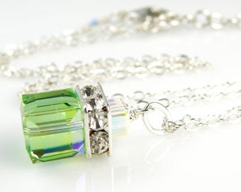 Peridot Crystal Necklace, Green Swarovski Crystal Cube Necklace Sterling Silver, Bridesmaid Wedding Jewelry, August Birthstone Birthday Gift