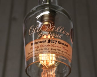 Old Weller Antique Bottle Pendant Light - Upcycled Industrial Glass Ceiling Light -  Bourbon Bottle Light Fixture - Whiskey Pendant Lamp