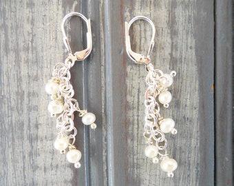 Long Dainty Freshwater Pearl Earrings - Sterling Silver - Bridal Jewelry - Delicate Pearl Earrings - Wedding Earrings - Date Night Jewelry