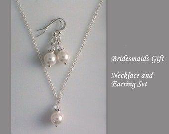 Personalized Bridesmaid Gift, Sterling Silver Bridesmaid Necklace and Earring Set,  Bridesmaid Gift, Bridesmaid Jewelry Set