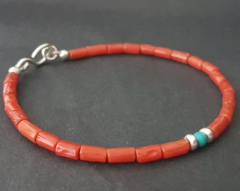Sardinian Red Coral Bracelet, Beaded Bracelet, Valentine Day, Coral Bracelet, Stacking Bracelet, Coral Jewelry, Handmade, Anniversary Gift