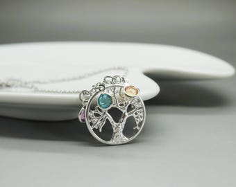 Necklace tree of life and birthstone - birthstone tree of life necklace - mommy grandma grammy