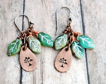 Green Leaf Earrings - Nature Jewelry - Tree Design - Earthy - Woodland - Stamped Jewelry