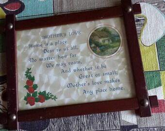 Vintage Wood Framed Motto Saying Poem Mother's Love 1940's  C902J