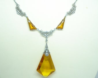 Art Deco Necklace Amber Glass and Chrome Links 1920's 1930's