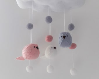 NEW Baby mobile -  birds and pom poms nursery decoration in pink grey and white