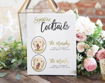 Signature Cocktails Sign for Wedding - Wedding Bar Sign with Dogs or Cats - Wedding Cocktail Sign - Wedding Signage - Wedding Bar Sign