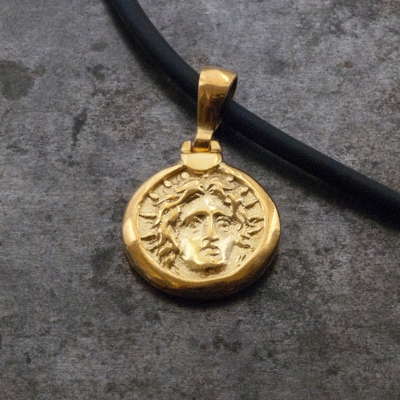 Gold ancient greek coin necklace god apollo small coin like this item mozeypictures Choice Image