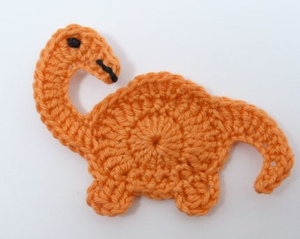 Crochet dinosaur, Crochet applique, 1 orange applique dinosaur. Cardmaking, scrapbooking, applique, craft embellishments, sewing accessories