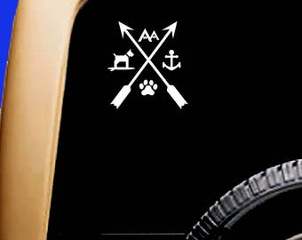 Arrow Decal Dog Paw Mountain Anchor SUP Kayak Canoe Car Sticker Decal Original Design by Paddling Dogs