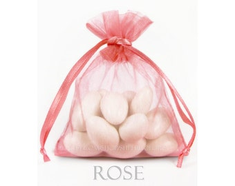 10 Rose Pink Organza Bags, 12 x 14  Inch Sheer Fabric Favor Bags