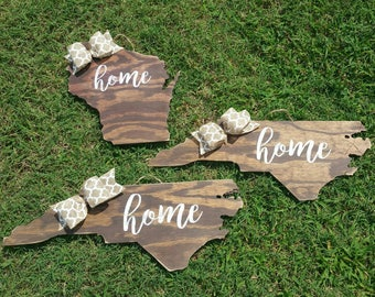 NC Home Sign / State Silhouette Sign / State Wood Sign / Wood Home Sign