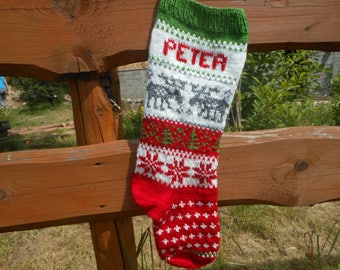 Personalized Christmas Stocking Hand Knitted With Deers Christmas Gift Christmas Decoration