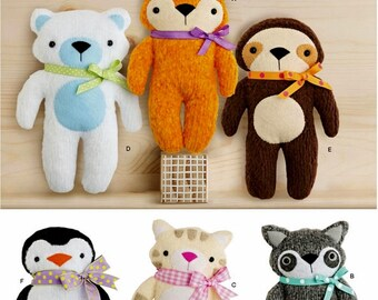 Stuffed Toy Animals Pattern, Toy Penguin Pattern, Toy Fox Pattern, Toy Sloth Pattern, Simplicity Sewing Pattern 8440