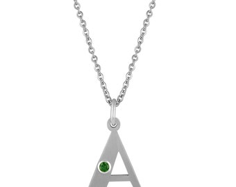 Initial A Pendant With Personalized Birthstone In Stainless Steel