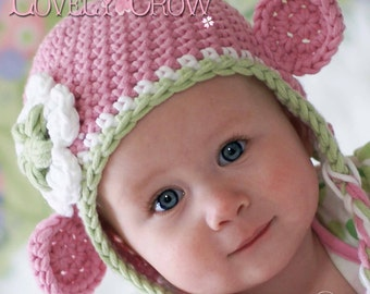 Monkey Earflap Beanie Crochet Pattern Monkey Earflap Beanie for Babies or Toddlers  Bulky Yarn Monkey Earflap Beanie