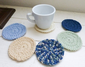 Round Crochet Coasters, blue crochet coasters, wedding present, housewarming  gift, fabric lined, cute crochet coasters, granny chic