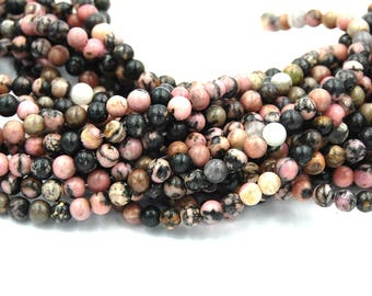 Black Vein Rhodonite 4mm Round Beads -15 inch strand