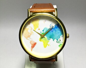 Map watch etsy colored map watch world map mens watch wrist watch vintage leather watch gumiabroncs Choice Image