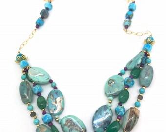 Peruvian Blue Jasper Multistrand Necklace