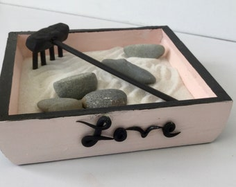 Love Pink & Black Mini Zen garden