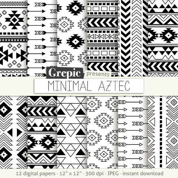 Aztec Digital Paper Minimal Aztec Aztec Patterns Tribal