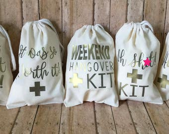 Hangover Kit, Bachelor Party, Bachelorette Party, Oh Sh*t Kit, Wedding Party Gift, Girls Night Out, Bachelorette Favor Bag, 21st Birthday