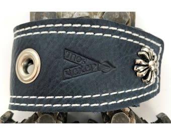 "Vexed Soul ""Holeyer Than Thou"" Premium Quality Top Grain Blue Leather Bracelet, 9.5"" …"