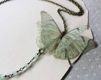 Handmade Seafoam Green Silk Organza Butterfly Necklace with Crystal Beads Central Chain - One of a Kind