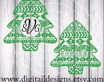 Aztec Christmas Tree Monogram Frame SVG - png - dxf - eps - fcm - ai - Cut file - Silhouette - Cricut - Christmas Tree SVG -Tribal Christmas