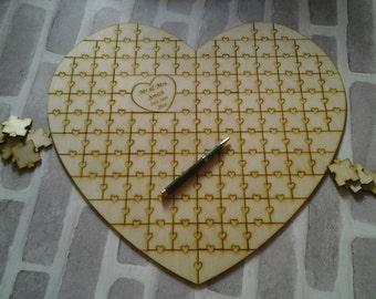 Jigsaw Wedding Guest Book Alternative, Jigsaw Wedding Guest Book. Puzzle Personalised Wedding Guest Book, Heart Guest Book, Jigsaw Puzzle