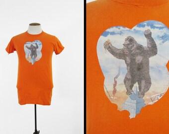 Vintage 70s King Kong T-shirt Bright Orange Iron On - Size Small / Medium