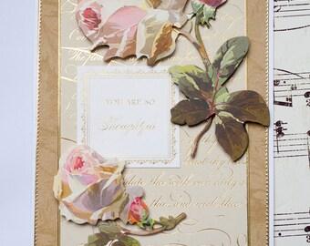 Thank You Card, 3D Thank You Card, Blank Thank You Card, Blank Card,  Handmade Thank You Card, Elegant Thank You Card, Wedding Thank You
